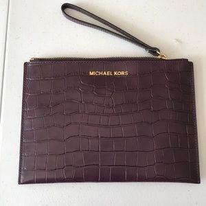 Michael Kors Leather Clutch purple